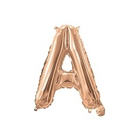 Rose Gold Air Filled 35cm Balloon - Letter A