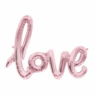 """love"" Rose Gold Foil Balloon Banner - air fill"