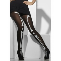 Opaque Tights, Black, with Skeleton Print