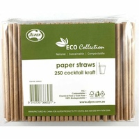 Paper Cocktail Straws - Kraft - Pk 250