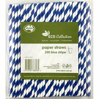 Eco Blue Striped Paper Straws - Pack of 250