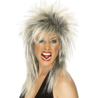 Blonde and Black Mullet Rock Diva Wig