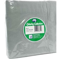 Silver Dinner Napkins 2 Ply -  Pack of 50