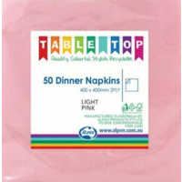 Pink ( Light) Dinner Napkins 2 Ply -  Pack of 50