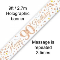 Sparkling Fizz Rose Gold Happy 90th Birthday Banner - 2.7m
