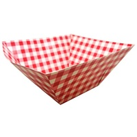 "10"" Red Gingham Paper Square Bowl"