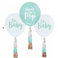 Baby Balloons with Tassels - Pk 3