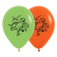 "12"" Lime Green & Orange Dinosaur Latex Balloons - Pk 25"