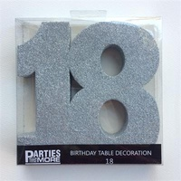 18th Birthday Foam Glitter Number Centrepiece - Silver