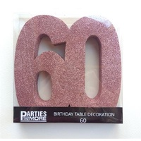 60th Birthday Foam Glitter Number Centrepiece - Rose Gold