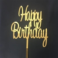"""Happy Birthday"" Acryclic Gold Cake Topper"