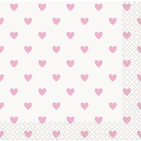 Light Pastel Pink Heart Beverage Napkins - Pk 16