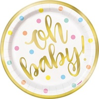 """oh baby"" Gold Foil & Pastel Dots 7"" Stamped Plates - Pk 8"