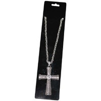 Heavy Metal Silver Cross Pendant with chain