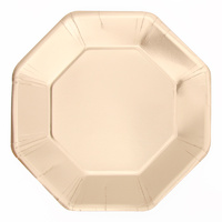 Foil Gold Octagon Dinner Plates - Pk 12