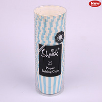 Blue Stripe Baking Cups - Pk 25