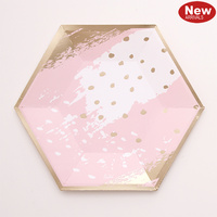 Pink and Foil Gold Cosmo Lunch Plates - Pk 12