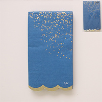 Navy and Foil Gold Cosmo Napkins - Pk 15