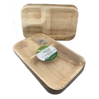 "Palm Leaf Plate with 3 Compartments - 10""x7""  - Pk 10"
