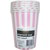 Small Pink Striped Popcorn Cups - Pk 6