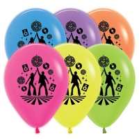 "12"" Latex Neon Disco Balloons - Pk 25"