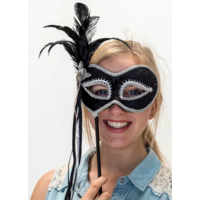 Deluxe Black & Silver Masquerade Mask on Stick