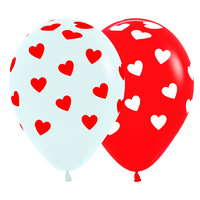 Latex Classic Hearts Round Balloons Red&White - Pk 12