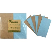Lunch Napkins (2ply) - Light Blue & Kraft - Pk 20