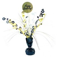 Happy Birthday Black & Gold Centrepiece & Balloon Weight