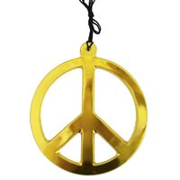 Jumbo Gold Peace Sign Necklace