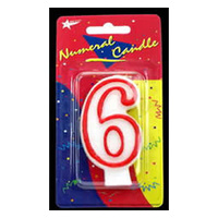 6 Birthday Candle - Red