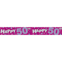 Banner 2.6M Happy 50Th Pink